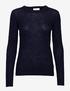 PURE CASHMERE O-NECK PULLOVER - kaszmir - navy