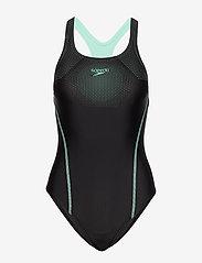 Speedo - Tech Placement Medalist - sportsbadetøy - black / green glow - 0