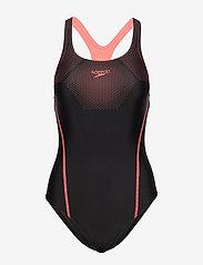 Speedo - Tech Placement Medalist - sportsbadetøy - black / phoenix red - 0