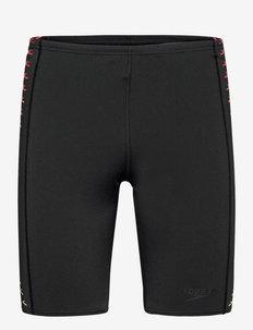 Tech Panel Jammer - shorts de bain - black/lazerlemon/dragonfireorg