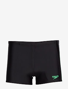 "SPEEDO LOGO ENDURANCE AQUASHOR BLACK/TURQUO 8(40"") - BLACK/USA CHARCOAL/FAKE GREEN"