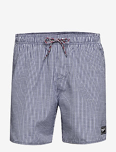 "Gingham Check Leisure 16"" Watershort - ELEMENTAL FIX BLACK/OXID GREY"