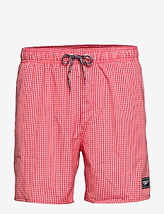 "Gingham Check Leisure 16"" Watershort - LAVA RED/WHITE"