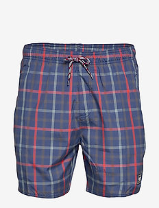 "Check Leisure 16"" Watershort - NAVY/LAVA RED/OXID GREY"