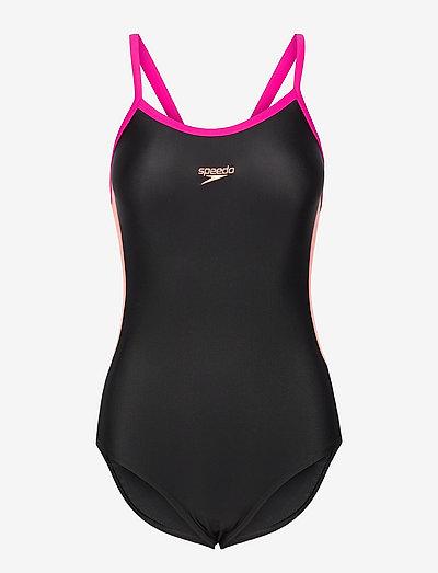 Dive Thinstrap Muscleback 1PC - stroje kąpielowe - black/neon fire/electric pink