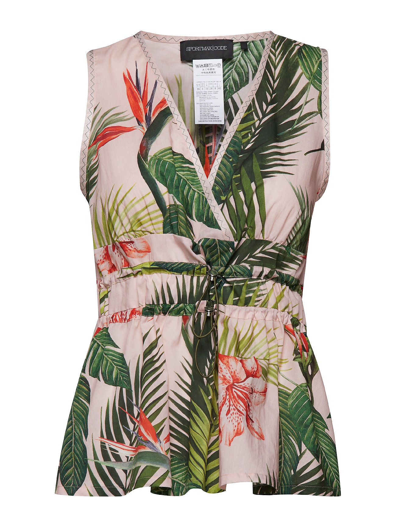 Sportmax Code REMO - PINK PALM TREES/IBISCUS PR. TOP