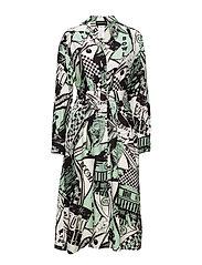 BESSICA - PASTEL GREEN COMIC PRINT DRESS