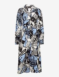 BESSICA - LIGHT BLUE COMIC PRINT DRESS
