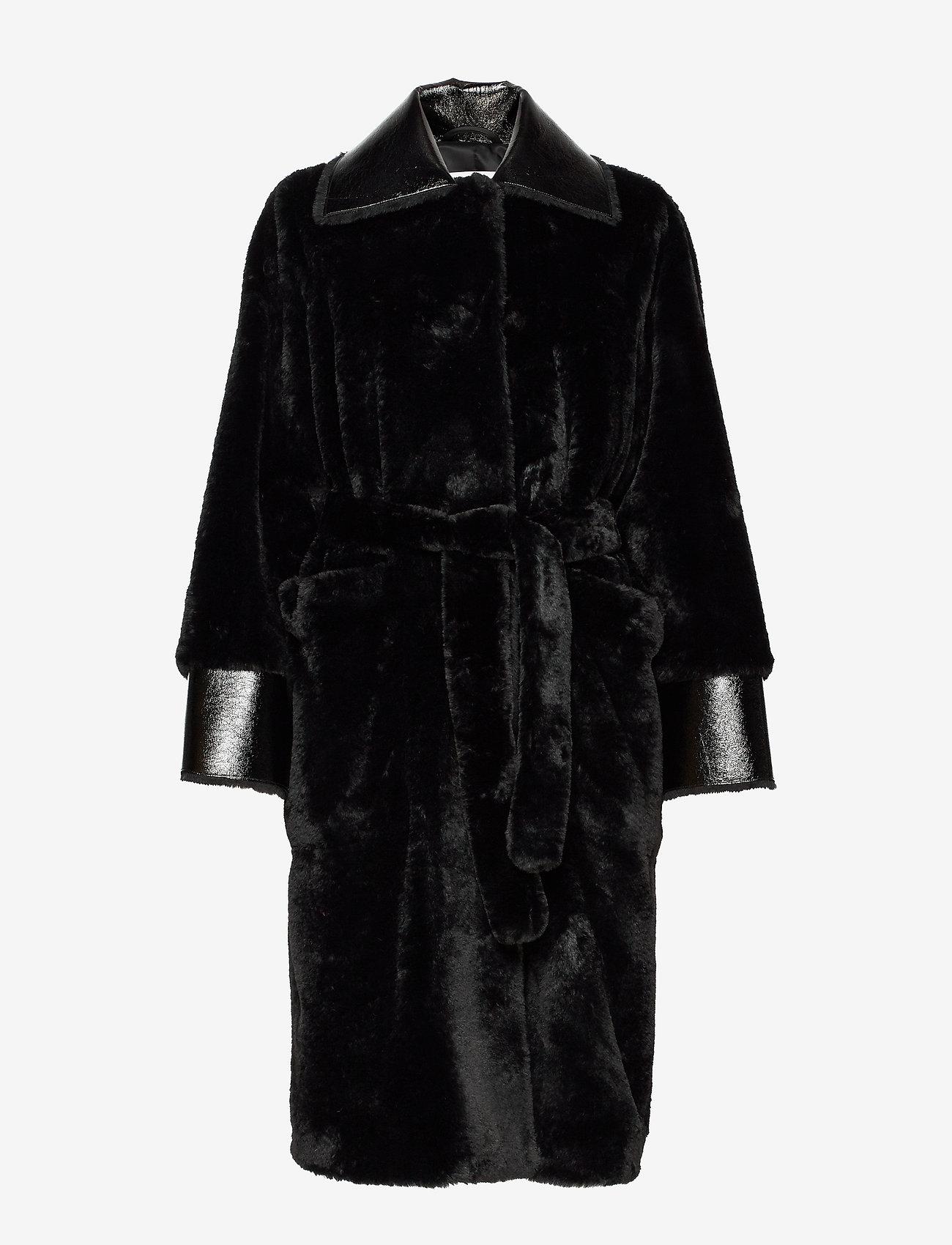 Stand Studio - Pamella Coat - faux fur - black - 1