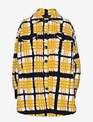 Stand Studio - Sabi Jacket - sztuczne futro - yellow/black/white check - 1