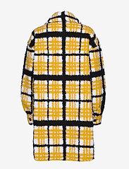 Stand Studio - Sabi Jacket - sztuczne futro - yellow/black/white check - 2