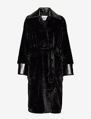 Stand Studio - Pamella Coat - faux fur - black - 0