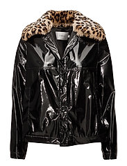 Alayna Rain Coat Short - BLACK