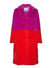 Maribel Coat - LILAC/ACID RED