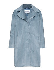 Camille Cocoon Coat - STEEL BLUE