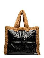 Lola Shearling Bag - BLACK/NOUGAT