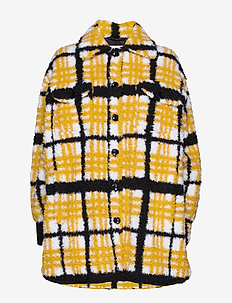 Sabi Jacket - sztuczne futro - yellow/black/white check
