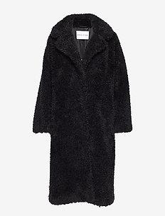 Clara Coat - faux fur - black