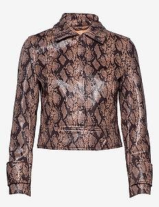 Erin Jacket - leather jackets - peach snake