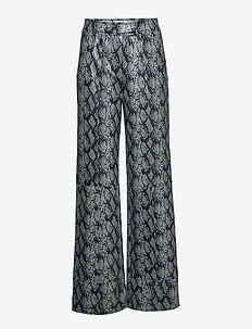 Maura Pants - wide leg trousers - grey snake