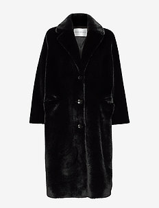 Theresa Coat - faux fur - black