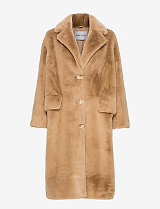 Theresa Coat - faux fur - camel/black