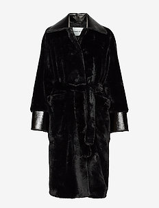 Pamella Coat - faux fur - black