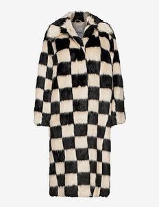 Nino Coat Check - sztuczne futro - off white/black