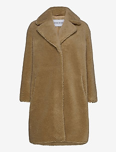Camille Cocoon Coat - sztuczne futro - beige