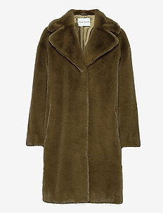 Camille Cocoon Coat - fuskepels - army green
