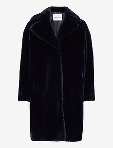 Camille Cocoon Coat - fuskepels - navy