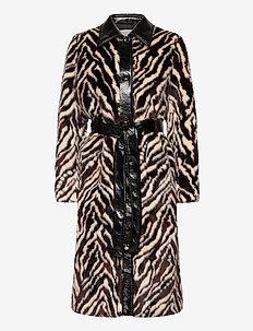 Aurora Coat - faux fur - black/white