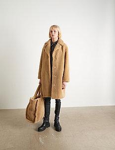 Camille Cocoon Coat - faux fur - beige