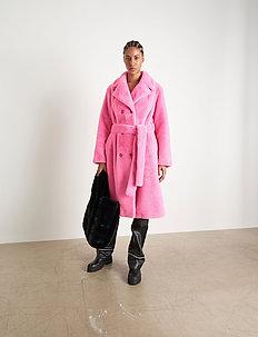 Faustine Coat - faux fur - bubblegum