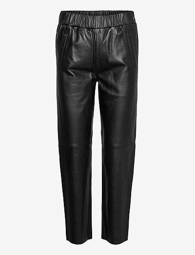 Noni Joggers II - leather trousers - black