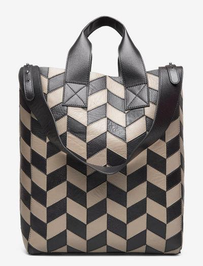 Amia Ziczac Bag - shoppers - black/sandstone beige