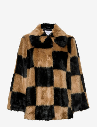 Nani Jacket - kunstpelz - black/beige large check