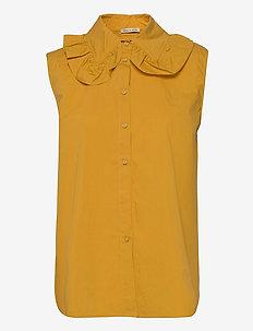 Beate - sleeveless blouses - golden yellow
