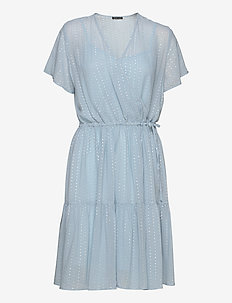 Ling - wrap dresses - dusty silver blue