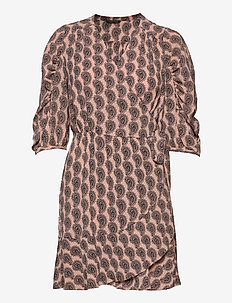 Cathlin - wrap dresses - pale pink paisley