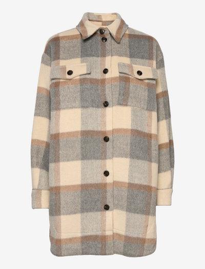 Emmy - overshirts - grey/creme/brown checks