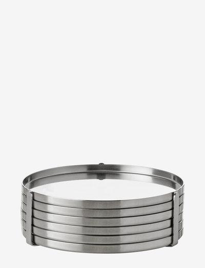 AJ coaster - 6 pcs - pöytätabletit & lasinaluset - steel