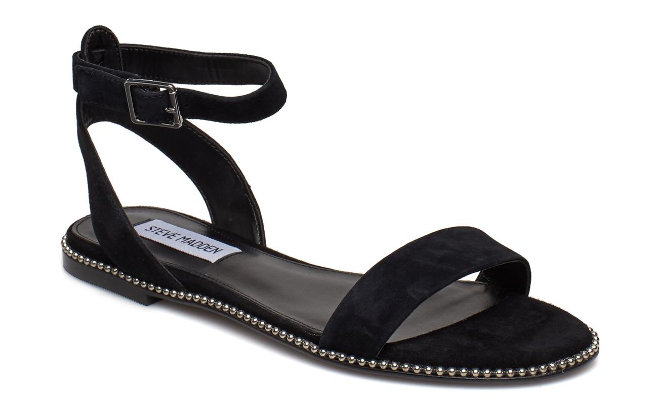 Steve Madden Salute Flat Sandals - BLACK SUEDE