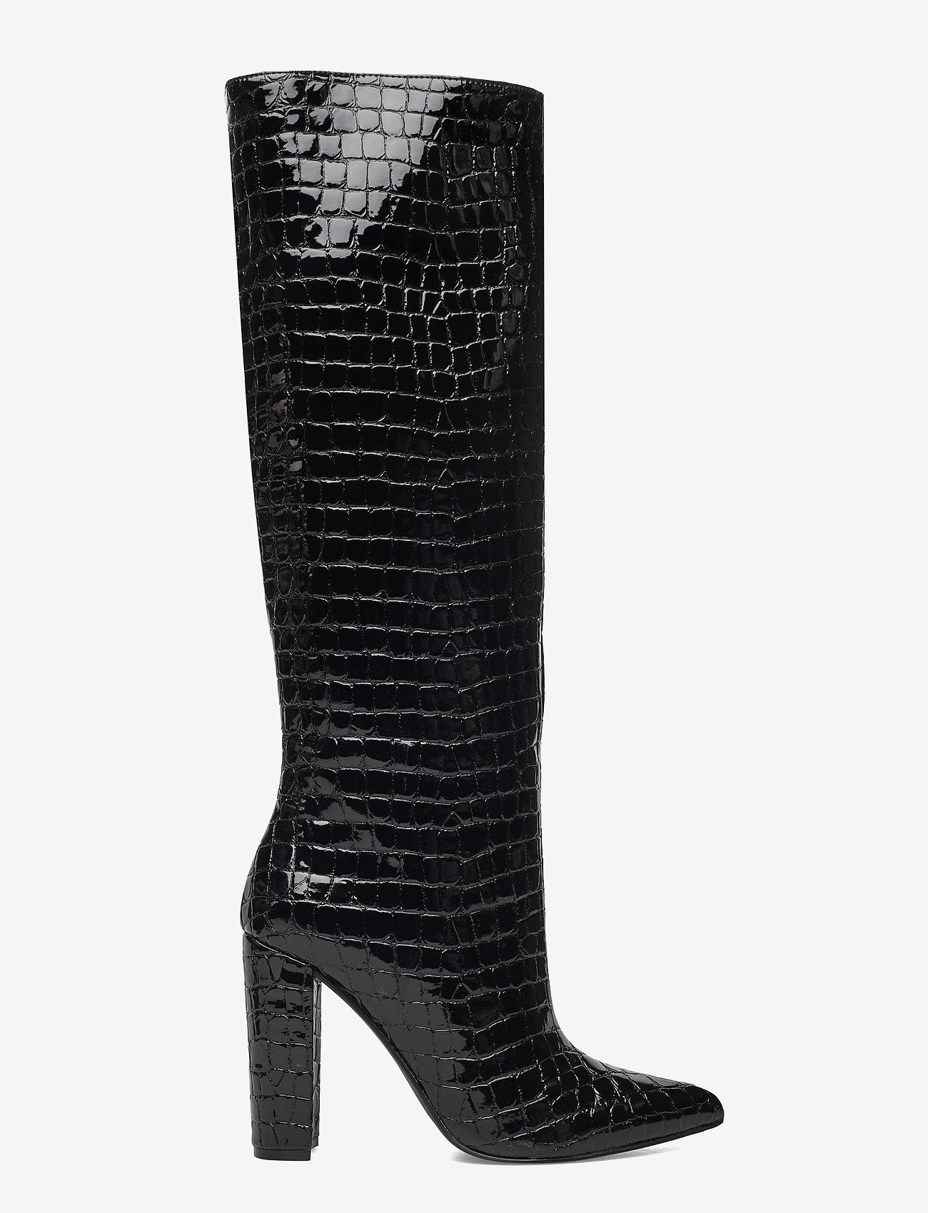 Steve Madden - Tamsin - lange laarzen - black croco - 1