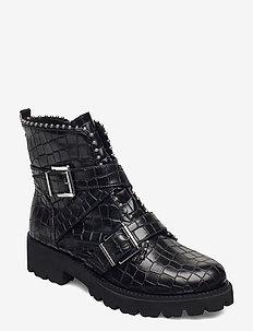 Hoofy - flate ankelstøvletter - black croco