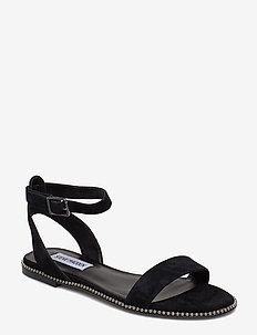 Salute Flat Sandals - BLACK SUEDE