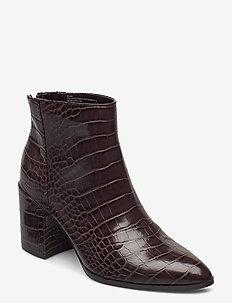 Jillian - ankelstøvler med hæl - brown croco