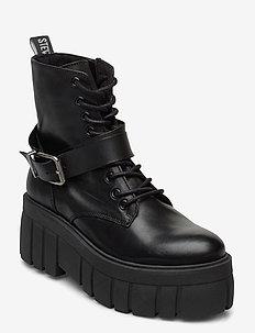 Folie - platta ankelboots - black leather