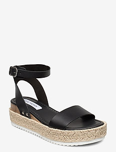 Chaser Sandal - espadrilles met sleehak - black leather