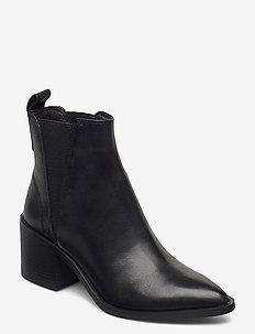 Audience - ankelstøvler med hæl - black leather